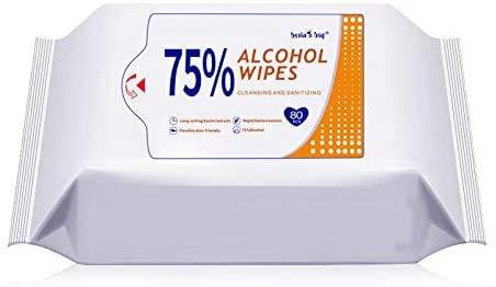 Toallitas húmedas 75% de alcohol, detergente portátil, toallitas húmedas grandes para limpiar manos, computadora, teléfono móvil, juguetes, hogar, oficina (80 unidades/paquete)