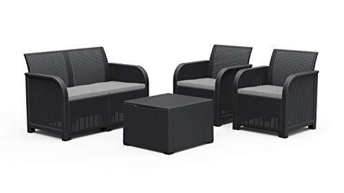 Keter Rosalie Lounge Set da Esterno con Cuscini Inclusi - Poltrone 65X63X74H Divano 113X65X74H Tavolino Contenitore 60X55X39H