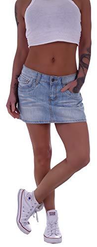 Damen Jeans Minirock Rock Blau Tiefsitzend Jeansrock blau-er Mini-Röcke Jeansröcke kurz-er Damen-Röcke Jean-Mini Damenrock Low Waist Rise Denim eng-er gr größe Size XS 34 Hell-Blau-er