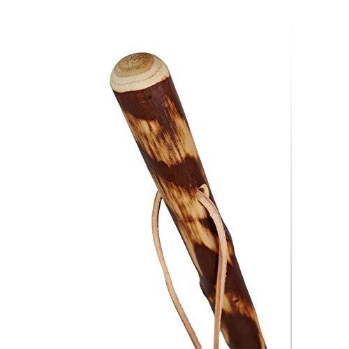 Stock-Fachmann® Wanderstock Holz braun durchschliffen mit Lederschlaufe Gehstock Gehhilfe