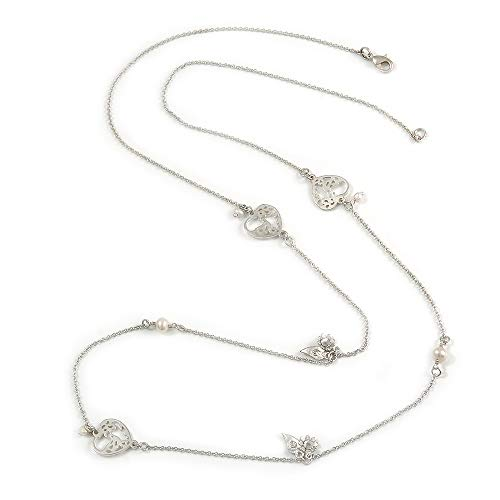 Avalaya Vintage Inspired Heart, Freshwater Pearl, Flower Long Chain Necklace in Light Matt Silver Tone - 90cm L