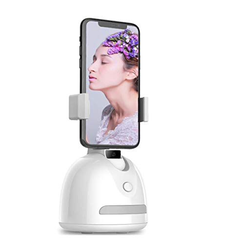 XZHFC Selfie Stabilizer, Smartphone Holder for Selfie, NO App 360°Rotation Auto Face Tracker Stabilizer Cell Phone Holder,Podcasting Video Camera Stick Mount for Phone White