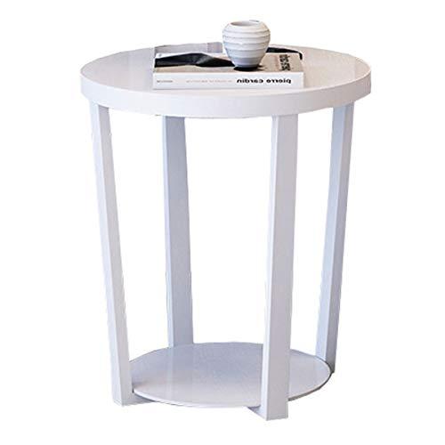 Table à café en Fer à Coucher Table de Chevet thé canapé côté Table d'angle Verre trempé Assemblage d'une Petite Table latérale Ronde,White