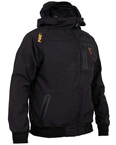 Fox Collection Black Orange Shell Hoodie - Angelpullover für Angler, Kapuzenpullover, Hoody, Kapuzenpulli, Softshell Pullover, Größe:XXL