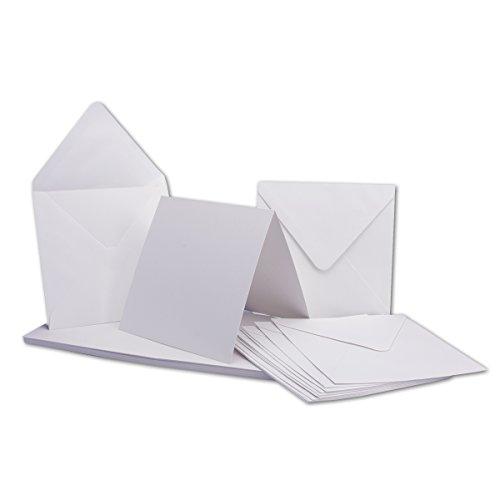 50 x Klapp-Karten Set Quadratisch Weiß/Hoch-Weiss - Falt-Karte 13,5 x 13,5 cm - 240 g/m² mit Brief-Umschlägen quadratisch - 14 x 14 cm - 120 g/m² Nassklebung