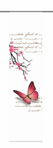 Home Fashion 87616-731 Schiebevorhang Digitaldruck Butterfly, Dekostoff, 245 x 60 cm, Fuchsia