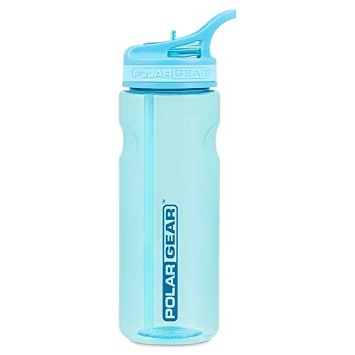 Polar Gear Aqua Grip Bottle – BPA-Free Reusable Sports Water Bottle & Foldable Straw – Drink at the Gym, in the Car & Outdoors – Clear Tritan Plastic & Dishwasher Safe – Turquoise, 650ml