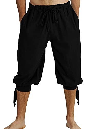 Pantalon court pour homme avec laçage - Pantalon d'été Viking pirate médiéval vintage - Costume décontracté - Pantalon de plage pour homme - Noir - L
