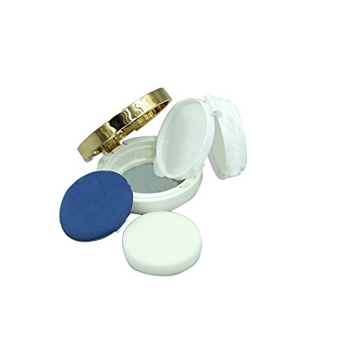 Boîte de rangement de poudre circulaire vide et rechargeable de 15 ml avec houppette à poudre pour coussin d'air BB crème fond de teint (doré)