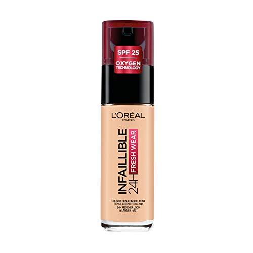 L'Oréal Paris Fondotinta Liquido Infaillible 24H Fresh Wear, A Lunga Tenuta, Protezione Solare SPF25, Sable Rosé (180), 30 ml