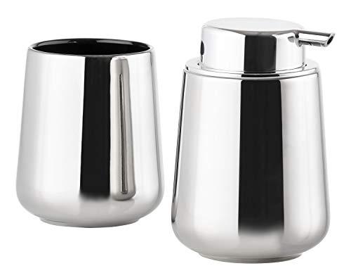 Nova One Soap Dispenser & Toothbrush Mug Set, Silver