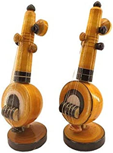 Fanciful Gifting Handicrafts Eucalyptus Wooden Veena Home Decor Musical Instruments Showpiece Pack Of 2 5 X 5 X 16 Cm Brown