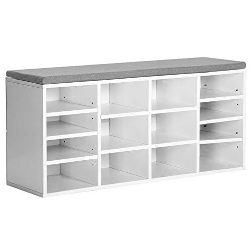 JGONas - Scarpiera in MDF, 14 pezzi, per corridoio, ingresso, corridoio, armadio, telaio in acciaio, colore: Bianco