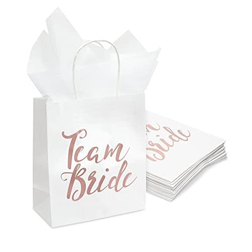 Blue Panda 15 Stück Team Bride Rose Gold Folie Brautjungfer Geschenktüten für...