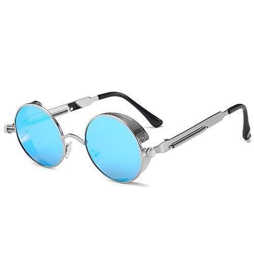 ZZOW Gafas De Sol Steampunk Redondas Vintage para Mujer, Gafas Reflectantes De Espejo De Primavera De Metal A La Moda para Hombre, Gafas De Sol Coloridas para Exteriores