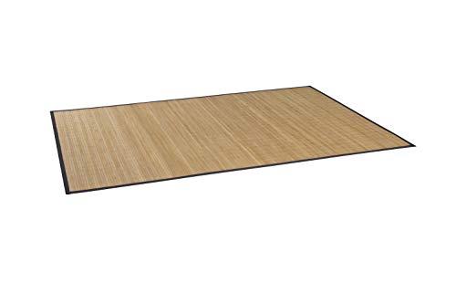 Massiver Bambusteppich HIGHQ I 11mm Stege, filigrane Bordüre I Bamboo Teppichläufer Bettumrandung Küchenläufer Eingangsteppich Küchenvorleger I Garderoben Läufer von DE-COmmerce I 90 x 160 cm