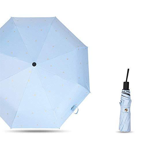 YNHNI Paraguas, paraguas con estampado de hojas, paraguas de verano para dama, paraguas de color sólido de moda, paraguas de plástico, paraguas UV, portátil (color azul claro)