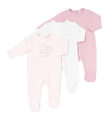 TEX - Pack 2 Pijamas para Bebé Niña y Niño, Pelele, con Pies, Cierre Automático, Estampado, Rosa Claro, 36 Meses