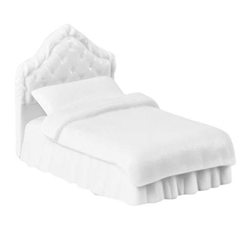 Baoblaze Miniatur Puppen Einzelbett Bett mit Decke und Kissen Deko Innenmöbel Zubehör für 1:25 Puppenhaus