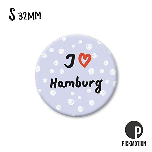 PICKMOTION Kleine S-Magnete I Love Hamburg, Neodym, Mehrfarbig, ⌀ 3,2 cm