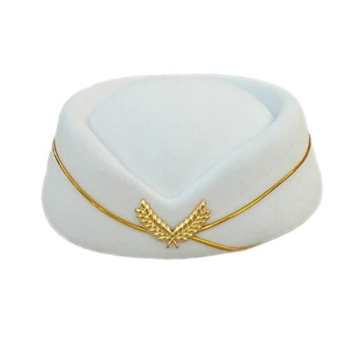 NUOBESTY Arco Boina Blanca Gorra Vintage azafata britnica Sombrero Lana Auxiliar de Vuelo Sombrero Disfraz Gorra de azafata