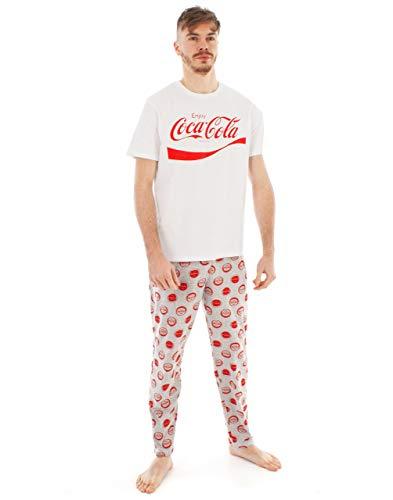 Ensemble de Pyjamas pour Hommes Coca Cola, t-Shirt à Logo Bouteille et Bas de pa M