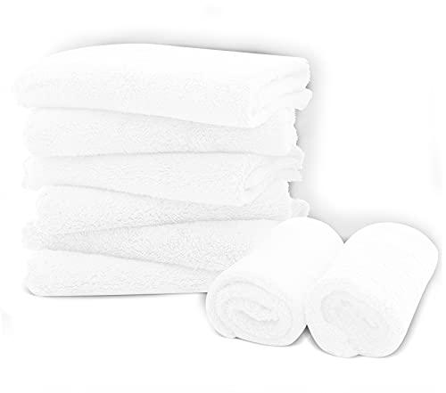 "8 Pack Large Burp Cloths for Baby - 20"" by 10"" Ultra Absorbent Burping Cloth, Hand Washcloths, Newborn Towel - Milk Spit Up Rags - Burpy Bib for Unisex, Boy, Girl - Burp Cloths Set(White)"