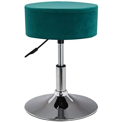 Drehhocker Sitzhocker Hocker RUND höhenverstellbar drehbar aus Kunstleder Farbauswahl Duhome 428S, Farbe:Petrol, Material:Samt