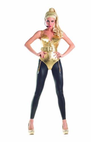 PartyKing Damen 80s Pop Diva Women's Costume Set Kostüme für Erwachsene, Gold, Medium