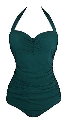 Angerella Vintage 50s Pin Up scollato Costume da bagno Costume intero (EU 40-42=Tag Size 2XL, verde scuro)