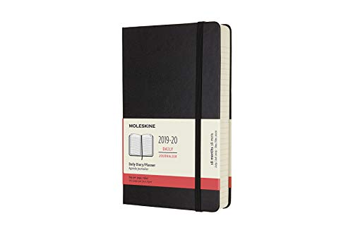 Moleskine 2019-20 Daily Planner, 18M, Large, Black, Hard Cover (5 x 8.25)