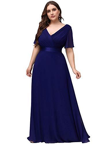 Ever-Pretty Damen Abendkleid A-Linie Lange V Ausschnitt Chiffon Kurze Ärmel Hohe Taille Übergröße Brautjungfernkleid Königsblau 52EU
