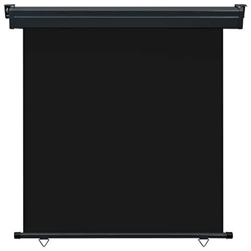 Tidyard Balkon-Seitenmarkise UV-beständig und wasserbeständig Senkrechtmarkise Sonnenschutz Sichtschutz Windschutz Markise Außenrollo Balkonrollo 170 × 250 cm Schwarz