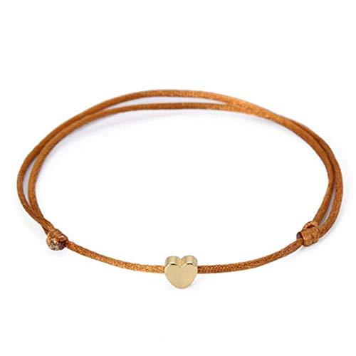 XQxiqi689sy Pulsera romántica con corazones para hombre y mujer, Lucky Rope, con noestrellada y muñeca de brazos marrón