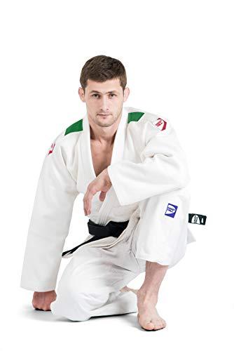 GREEN HILL JUDOGI PROFESSIONAL IJF APPROVED JUDO BIANCO GI WHITE KIMONO UNISEX (Banda sulle spalle tricolore, 170 Slim fit)