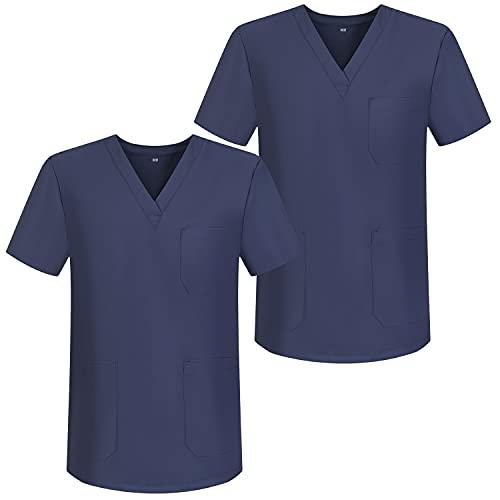 MISEMIYA - Pack*2 - Casaca Sanitarios Unisex Uniformes Sanitarios Cuello Pico Mangas Cortas Uniformes Laboratorios - Ref.817 * 2 - M, Gris 68