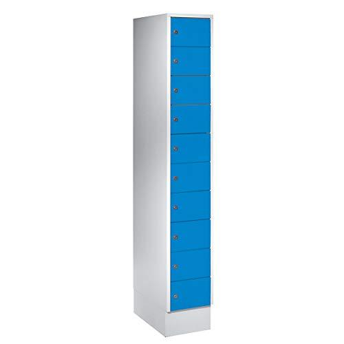 Wolf – Kleingefachschrank - 10 Fächer, HxB 1800 x 300 mm - Türfarbe lichtblau RAL 5012 - Fächerschrank Kleingefachschrank Kleingefachschränke Raumsparschrank Schließfach Spind Stahlschrank