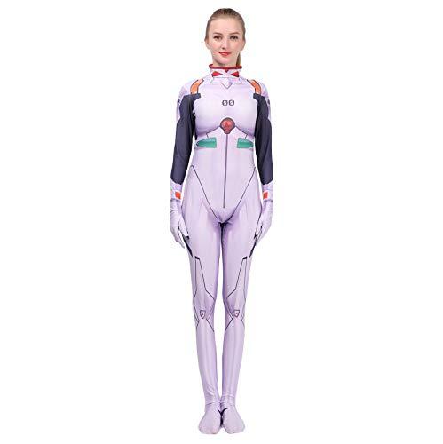 Hope Neon Genesis Evangelion (Eva) Ayanami Rei Kostüm, Kinder Mädchen Cosplay siamesische Strumpfhose Kostümfest Halloween Overall,White-120~130 cm
