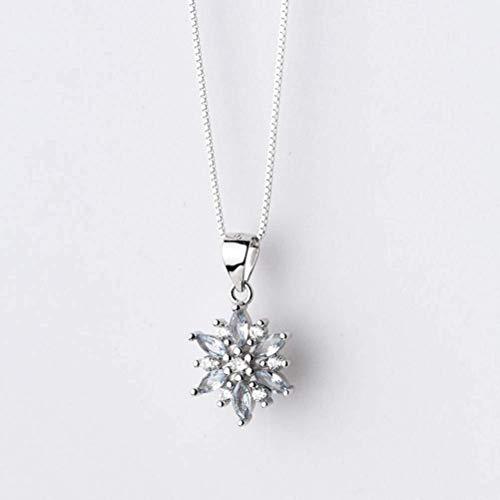 S925 zilveren enkelvoudige hanger vrouwen Koreaanse mode zoete diamant sneeuwvlok hanger Temperament eenvoudige hanger ketting, S925 zilver zonder ketting, 925 zilver, EEH A ZILVER