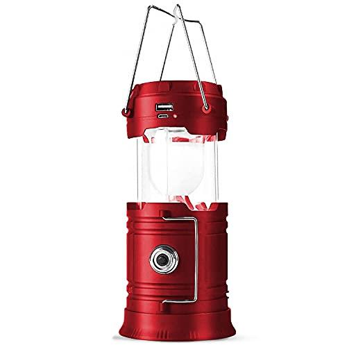 【一台三役 ソーラー充電】 キャンプランプ 高輝度 折り畳み式 LEDランタン 充電式 電池式 3WAY給電方式 懐中電灯 携帯型 テントライト 防水 ハンディ 照明 ランプ アウトドア 非常用 防災グッズ 停電対策 1個入 DeliToo (Red)