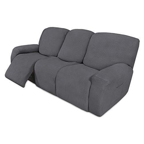 Easy-Going 8 piezas de sofá reclinable elástico funda de sofá protector de muebles sofá sofá suave con parte inferior elástica para niños, tela jacquard de licra a cuadros pequeños gris