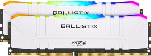 Crucial Ballistix BL2K8G32C16U4WL RGB, 3200 MHz, DDR4, DRAM, Mémoire Kit pour PC de Gamer, 16Go (8Go x2), CL16, Blanc