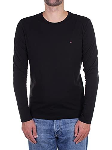 Tommy Hilfiger Stretch Slim Fit Long Sleeve Tee T-Shirt de Sport, Black, Large Homme