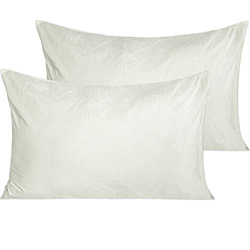 NTBAY 2 Pack Washed Cotton Queen Pillowcases, Breathable and Hypoallergenic Envelope Closure Pillow Cases, 20 x 30 Inches, White