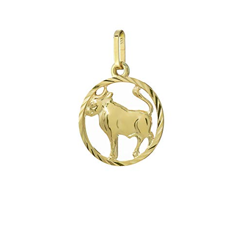 NKlaus Toro signo del zodíaco 333 8 quilates oro amarillo Ø 15mm collar colgante horóscopo 9149