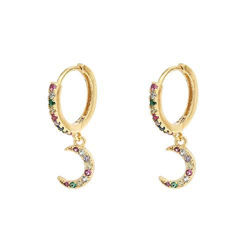 Donna Bambina Orecchini Mezza Luna Pendenti Anallergici - Placcati Oro 18 Carati - Design Premium Gioielli Eleganti