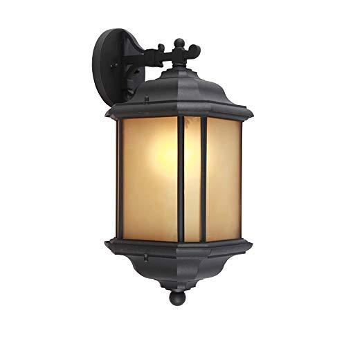 Luminaires dextérieur traditionnels Luminaires muraux Appliques murales extérieures imperméables Lanterne au fini noir avec abat-jour en verre givré avec E27 Edison