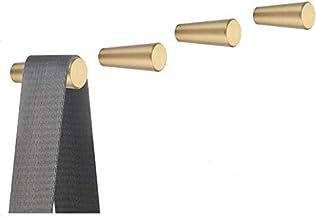 Zestaw 4 sztuk, złote mosiężne dekoracyjne haczyki ścienne haczyk na ręczniki, wieszaki na ubrania montowane na ścianie (s...