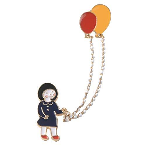 Broche con diseño de niña de dibujos animados esmaltados con cadena de...