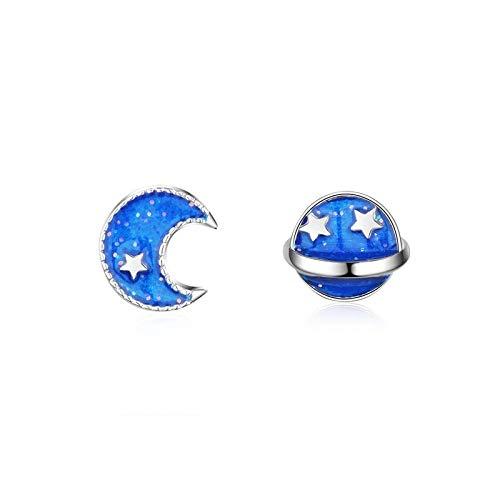 Pendientes de plata de ley 925 para mujer, estilo de joyería, luna azul, tierra, pendientes de tuerca para niña, accesorios para niña